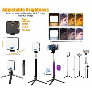 iBank� Video Conference LED Light + Selfie Stick + Tripod + Bluetooth Shutter (Purple)